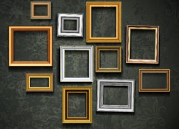 Custom frames on a wall