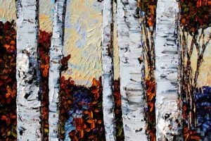 Maya Eventov birch tree detail paint on canvas, 36x46