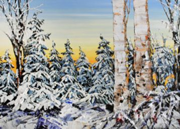 Maya Eventov winter trees paint on canvas, 60x30