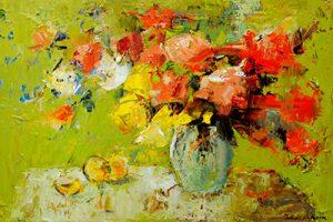 Julia Klimova floral paint on canvas, 36x24