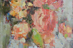 Julia Klimova floral paint on canvas, 24x48