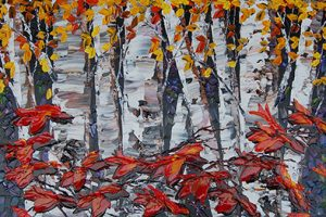 Maya Eventov birch tree detail paint on canvas, 36x24