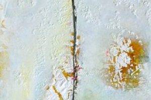 Emilia Pasagic floral bee's wax and oil on canvas, 12x48