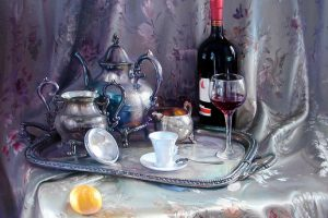 Vyacheslav Shevchenko wine and coffee still life oil on canvas, 22x28
