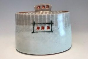 Jean Adams three-square covered bowl, ceramic