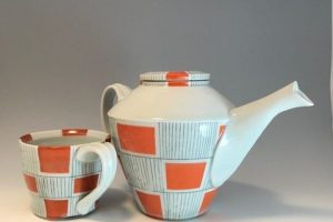 Jean Adams Orange Tea Set, ceramic