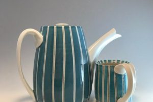 Jean Adams Teal-striped Tea Set, ceramic