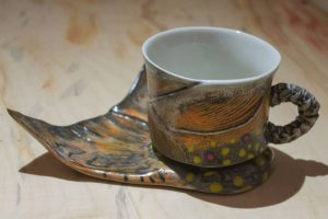 Mark Chuck fish-inspired ceramic cup and plate
