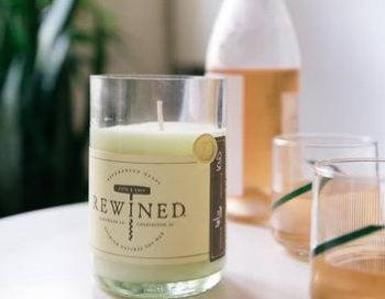 Rewined candles are handpoured beautifully scented soy candles in repurposed wine bottles
