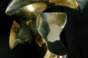 David Green Icarus polished bronze sculpture, 18x18x17
