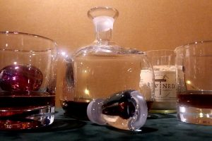 Simon Pearce lead-free crystal drinking glasses and decanter + Rewined candle