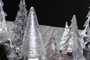Simon Pearce glass evergreen trees and votive