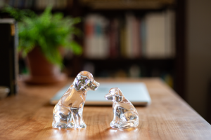 Simon Pearce glass dog and puppy