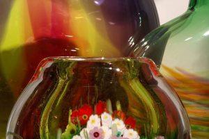 Multicolor glass vases