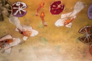 Aleah Koury pastel+gold leaf+watercolor+rust on paper, 44x20