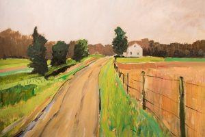 Earl Lehman Farm Road Susquehanna County oil on canvas, 30x30
