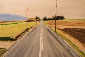 Earl Lehman Middle of the Road oil on canvas, 20x20