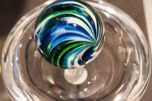 Little River Hot Glass blown glass ball on holder, 4.5x4