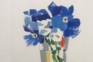 Betty Ball monoprint of blue flowers in a glass of water