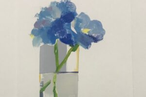 Betty Ball monoprint of blue flowers in a tall glass of water