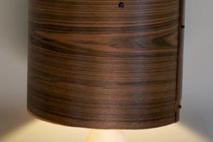 Mike Scribner + Joel Moses wood + ceramic wedge lamp