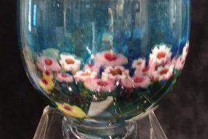 Shawn Messenger blown glass murrini bowl, 6.75 x 6.75 x 6.25