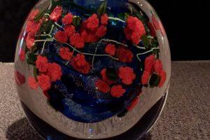 Shawn Messenger blown glass vase with powders + chips + glass murrini, 6x2.25x6