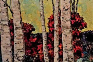 Maya Eventov birch tree detail oil on canvas, 40x40